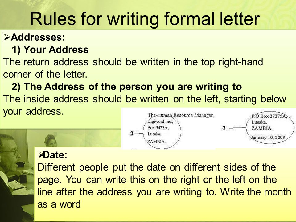 Writing Formal Letters: The Rules