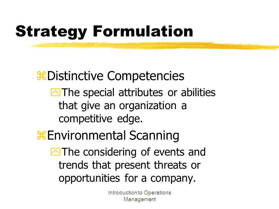 """introduction to strategy and operations management Operations management: a brief introduction posted on november 29, 2014 by john dudovskiy operations management can be defined as """"a systematic approach to address all the issues pertaining to the transformation process that converts some inputs into output that are useful, and could fetch revenue to the organisation"""" (davis, 2009, p5."""