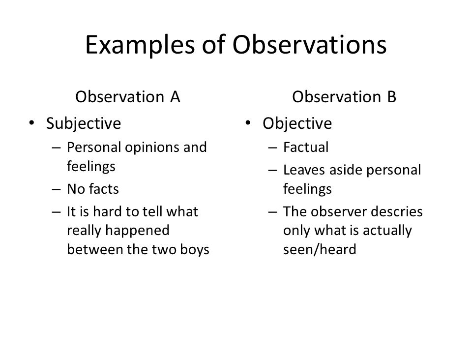 examples of observations Philosophers who adopt this usage are free to think about standard examples of observation as members of a large, diverse, and growing family of data production methods instead of trying to decide which methods to classify as observational and which things qualify as observables, philosophers can then.