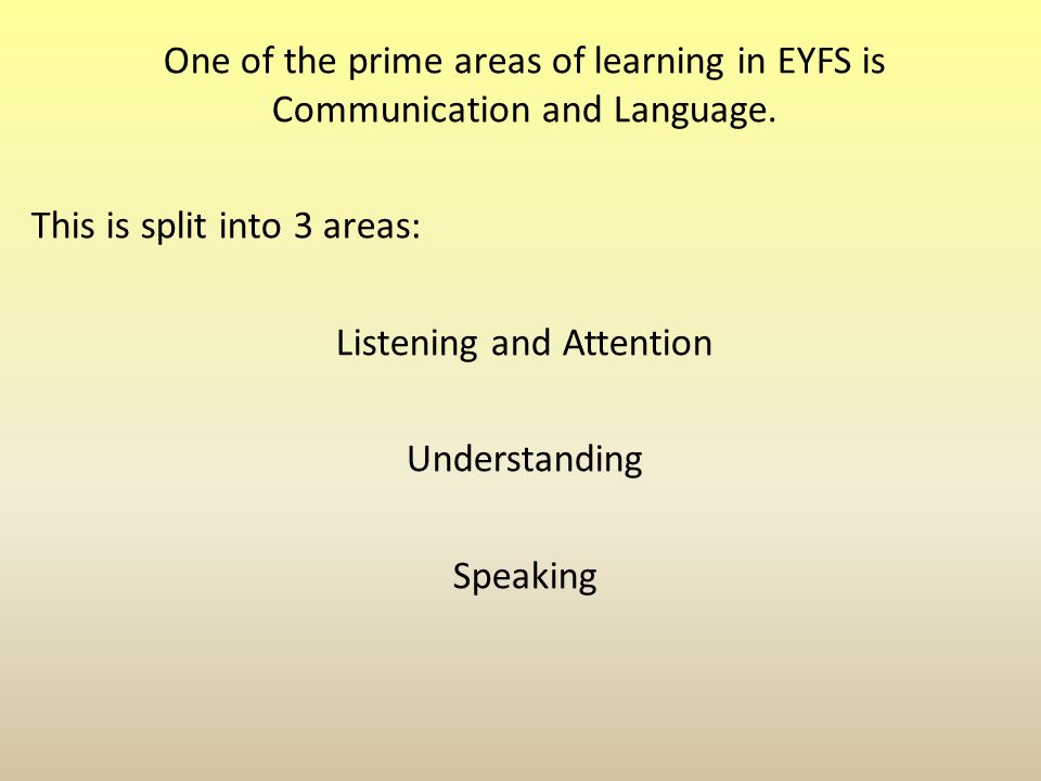 One of the prime areas of learning in EYFS is Communication and Language.