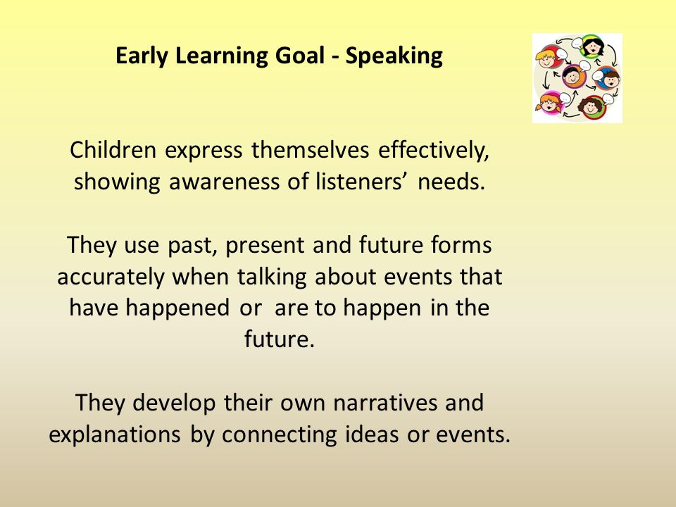 Early Learning Goal - Speaking