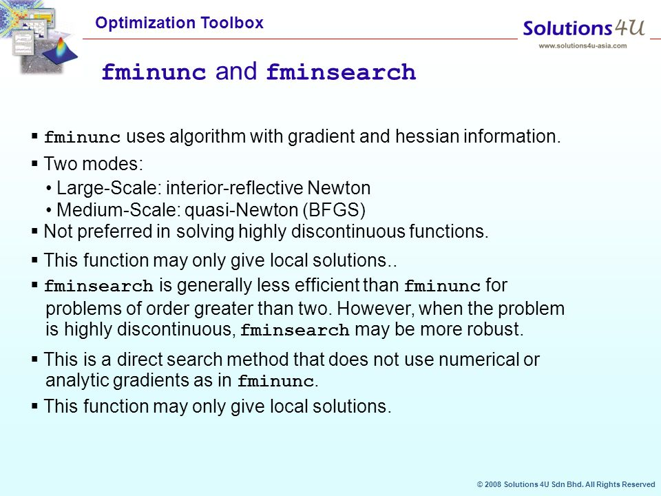 fmincon intro B: call of fmincon with gradient information provided top as for fminunc the performance of fmincon can be improved if gradient information is supplied this information can be provided for the objective function, the nonlinear constraint functions, or both let's consider example 1(f) again.