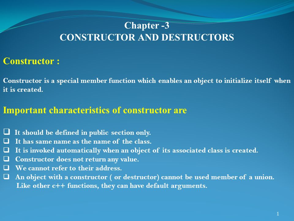 Best Constructor And Destructor In C++ Class 12 Notes