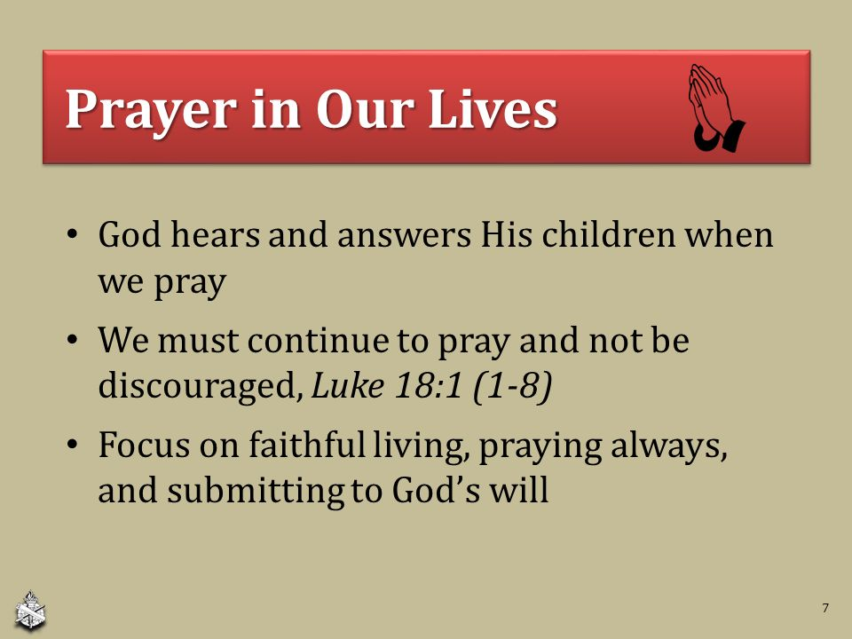 Prayer In Our Lives
