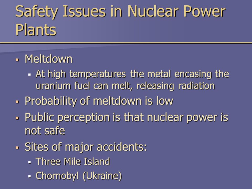 the issues of nuclear energy and the environment Fission and fusion there are two fundamental nuclear processes considered for energy production: fission and fusion fission is the energetic splitting of large atoms such as uranium or plutonium into two smaller atoms, called fission products to split an atom, you have to hit it with a neutron.