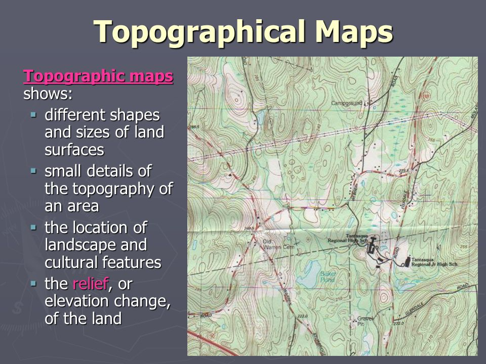 how to find relief on a topographic map