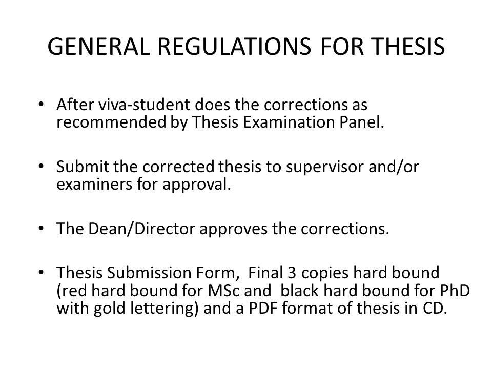 Thesis regulations
