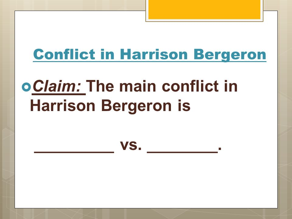 harrison bergeron conflict essay Get an answer for 'what is a summary of the conflict in harrison bergeron' and find homework help for other harrison bergeron questions at enotes.