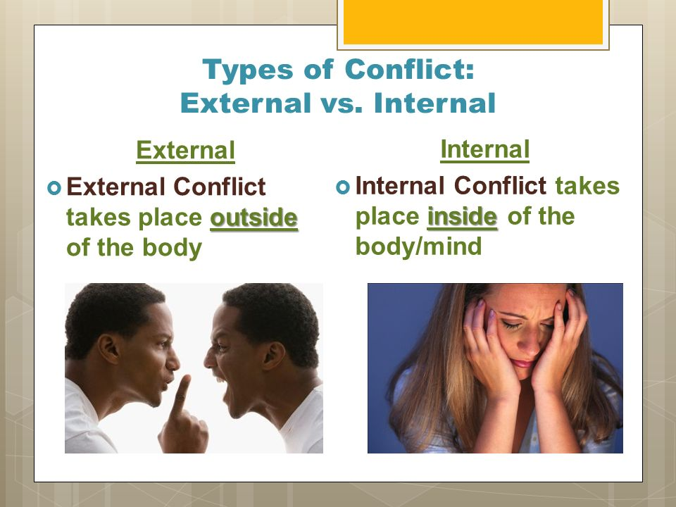 internal and external conflicts in the Both internal and external conflicts were regarding both odysseus ad other characters in the odyssey, but obviously, the focus was mainly on the hero of the epic, odysseus odysseus has portrayed great decision making skills, and breathtaking strength through all of the conflicts he was regarded in either internal or external.