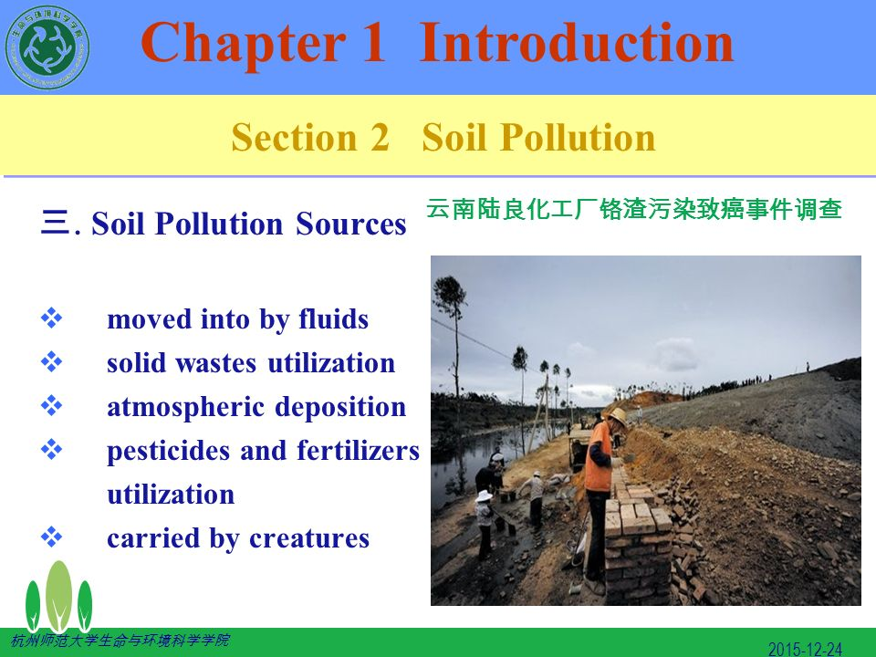 soil pollution introduction Soil pollution is defined as the presence of toxic chemicals (pollutants or  biological agents work inside the soil to introduce manures and digested sludge .