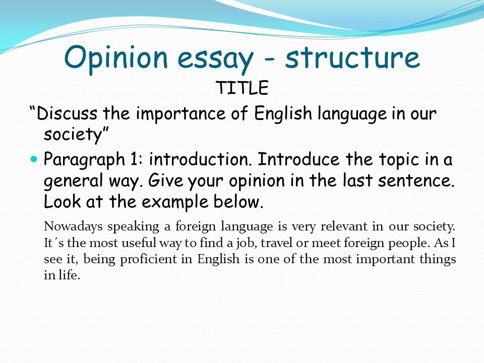 structure of opinion essay Opinion essay or persuasive essay smrt students will learn how to structure and organize an opinion essay and will be given tips to make their essays.