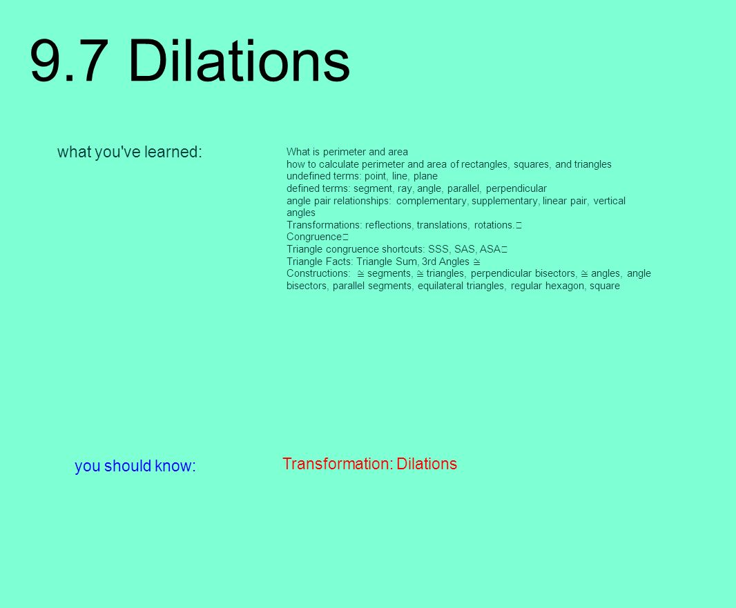 97 Dilations What You Ve Learned: You Should Know: