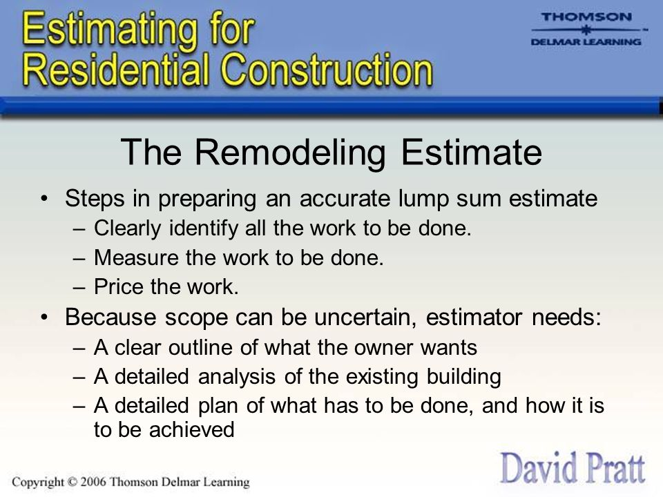 Chapter  Estimates For Remodeling Work  Ppt Download