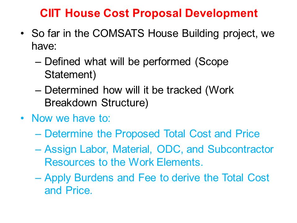 Management development of complex projects course code for Total cost of building a house