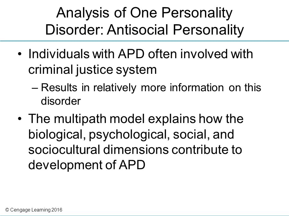 an analysis of the antisocial personality disorder as an affliction Chapter 35 personality diagnosis and personality disorders  adult antisocial personality led to an  of personality disorder: a cluster analysis of.