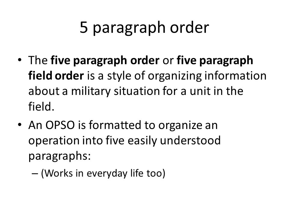 how to write a 5 paragraph order usmc