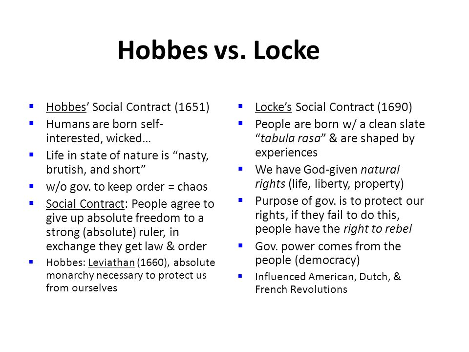 Hobbes and Locke Social Contract Theory