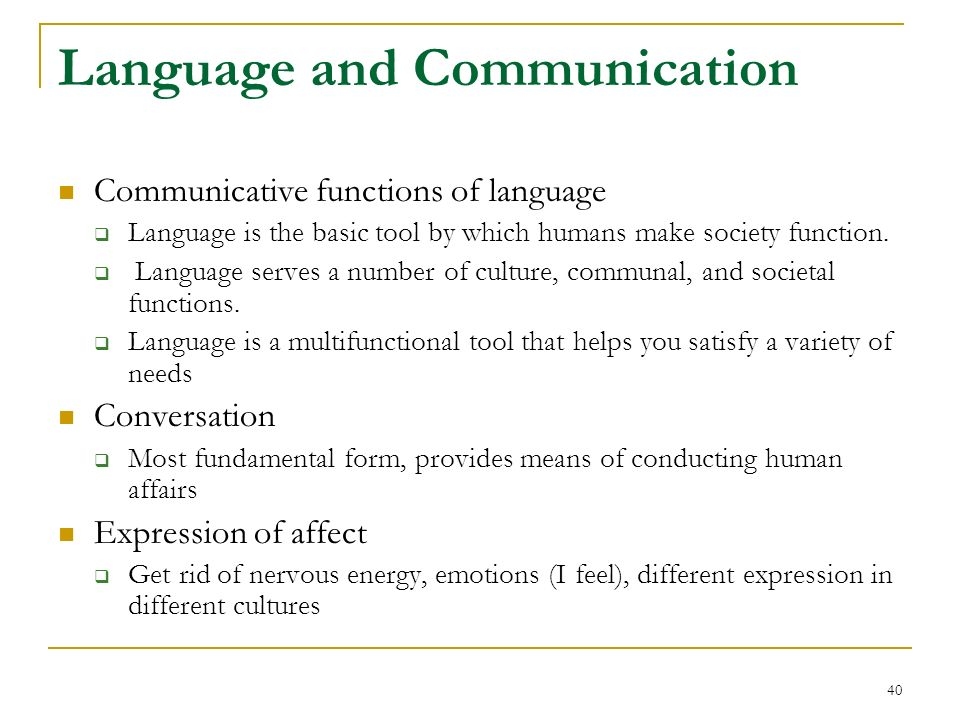 functions of human language