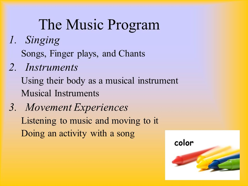 music and movement experiences Kindermusik is the world's leading provider of music-based education for children from birth through age seven we use the power and joy of music-making to help children learn and grow during the years most critical to brain development.