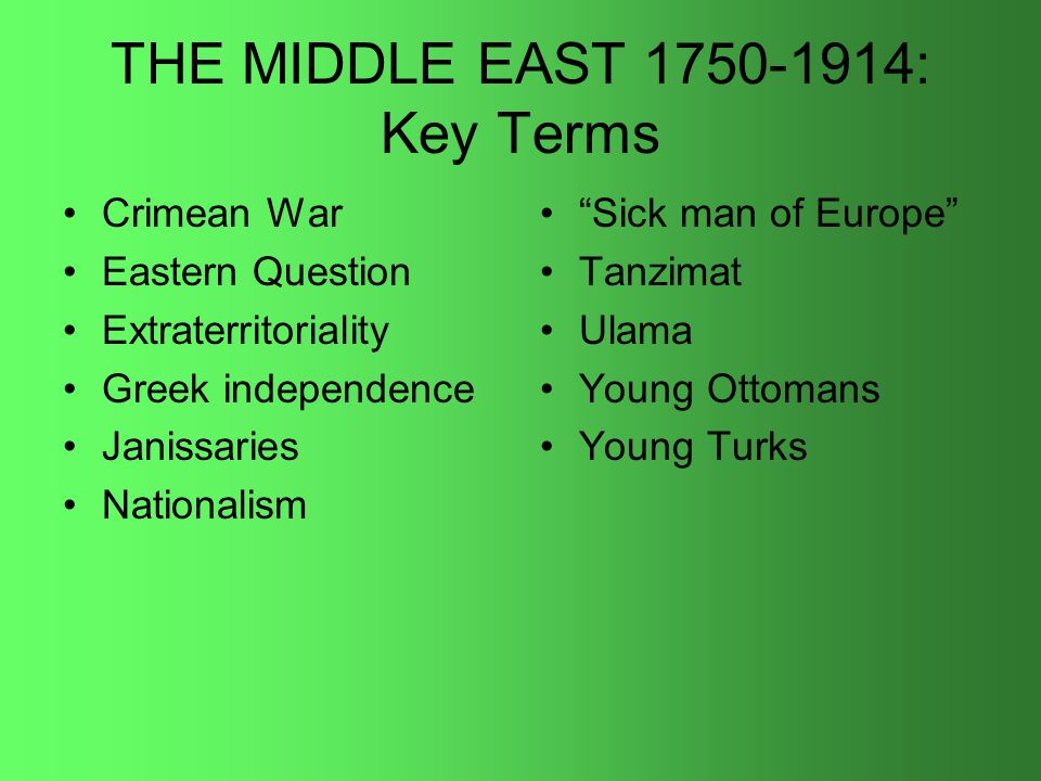 THE MIDDLE EAST 1750-1914: Key Terms