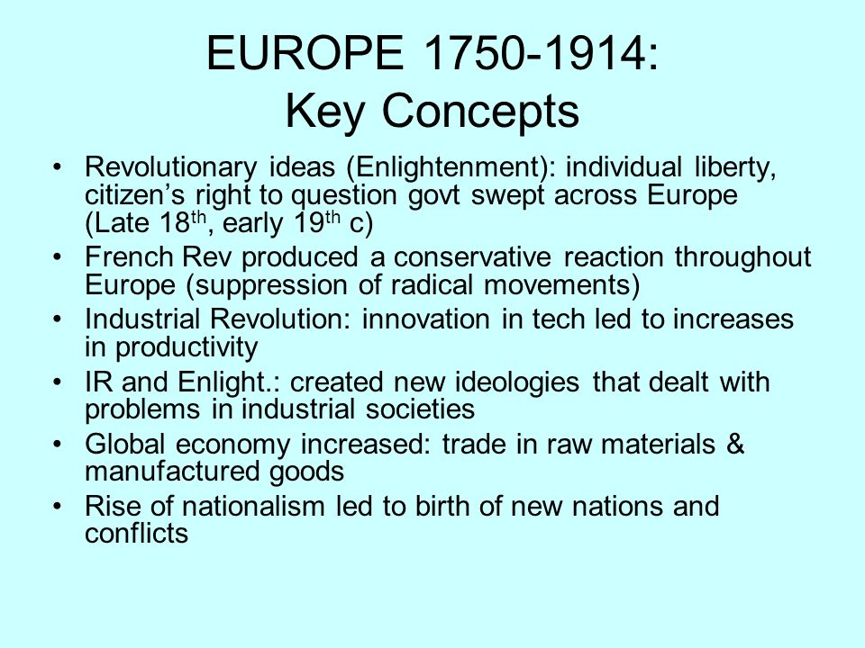 EUROPE 1750-1914: Key Concepts