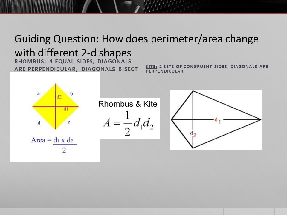 Perimeter area of parallelograms trapezoids rhombi kites guiding question how does perimeterarea change with different 2 d shapes ccuart Images