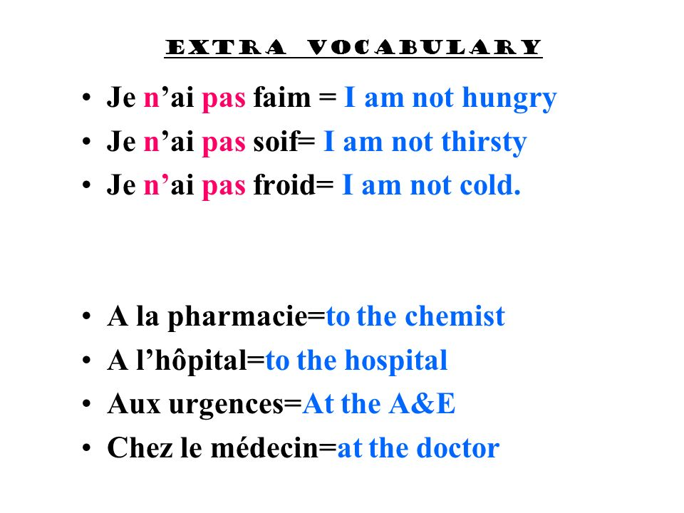 Je n'ai pas faim = I am not hungry Je n'ai pas soif= I am not thirsty