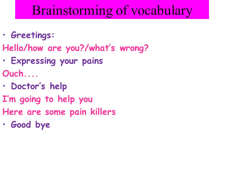 Brainstorming of vocabulary