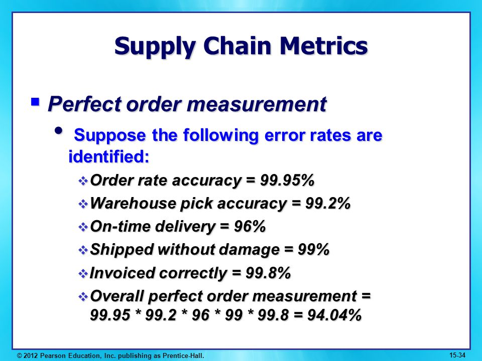 supply chain metrics An overview of various transportation metrics or measurements,within your supply chain.