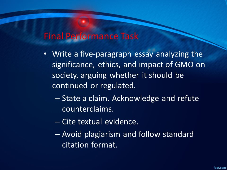 genetically modified organisms gmos ppt video online  33 final performance task