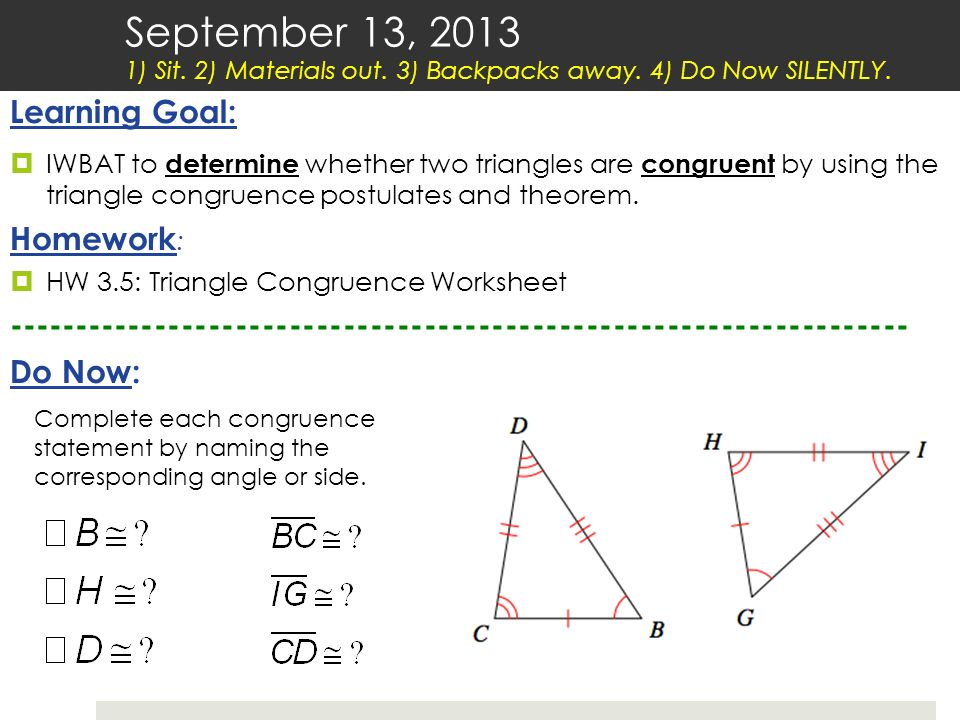 September 13 Sit 2 Materials Out 3 Backpacks Away Ppt Video