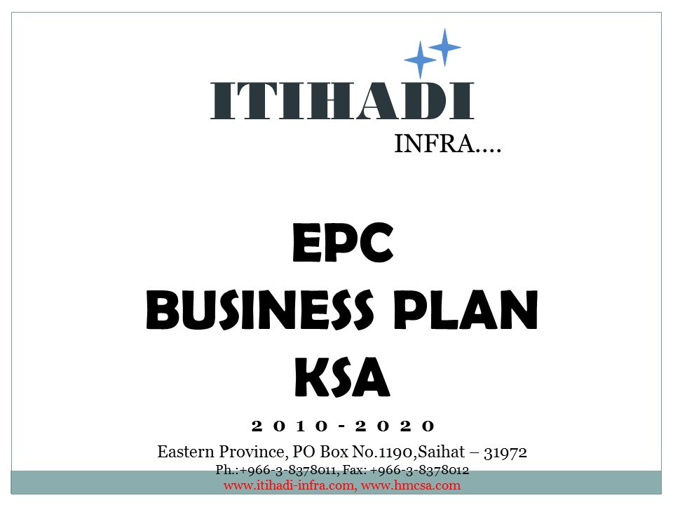 ITIHADI EPC BUSINESS PLAN KSA INFRA