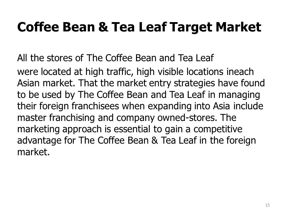 coffee bean and tea leaf marketing See the coffee bean & tea leaf salaries collected directly from employees and   manager, brand marketing, beverage & food located in the home office in.