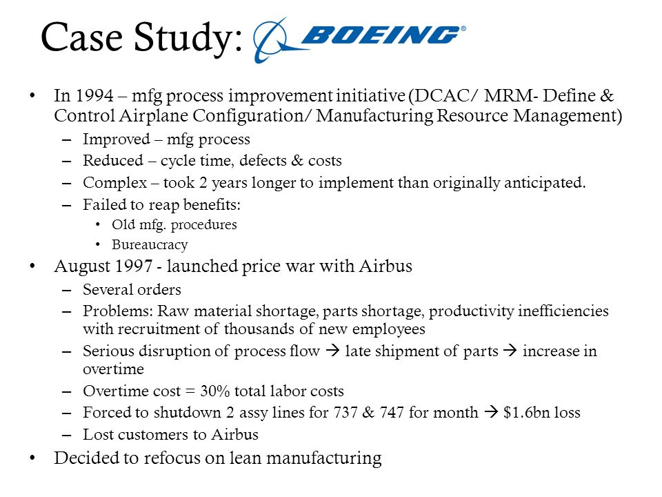 Lean Manufacturing Initiatives at Boeing