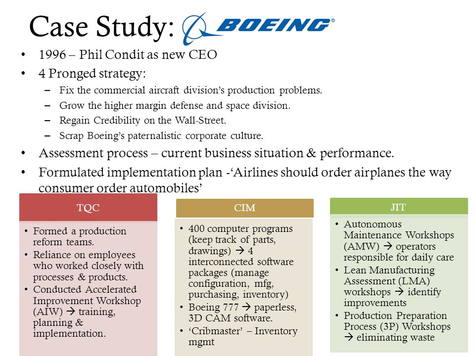 lean manufacturing initiatives at boeing case study Each session offered a case study or reliability management and reliability engineering lean manufacturing, in site maintenance manager of the boeing.