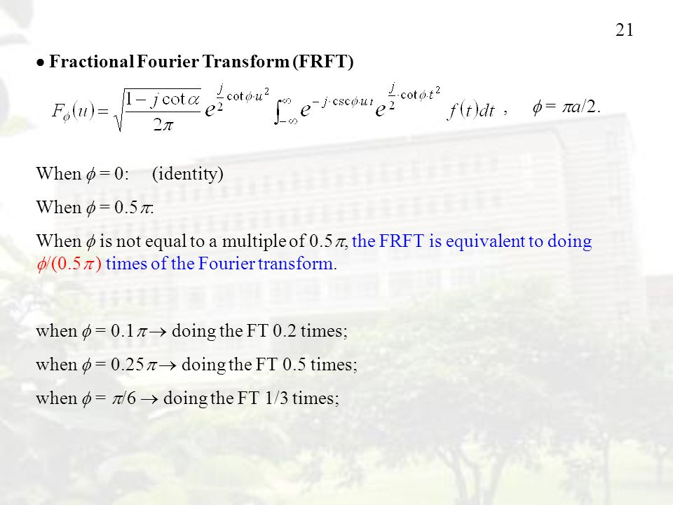  Fractional Fourier Transform (FRFT)