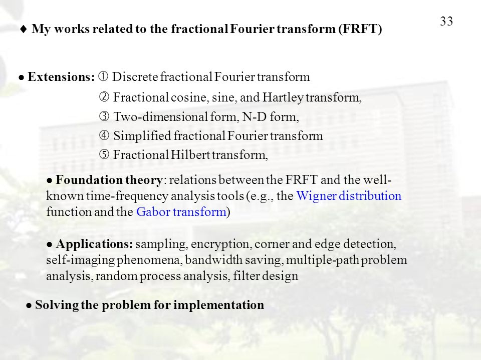  My works related to the fractional Fourier transform (FRFT)