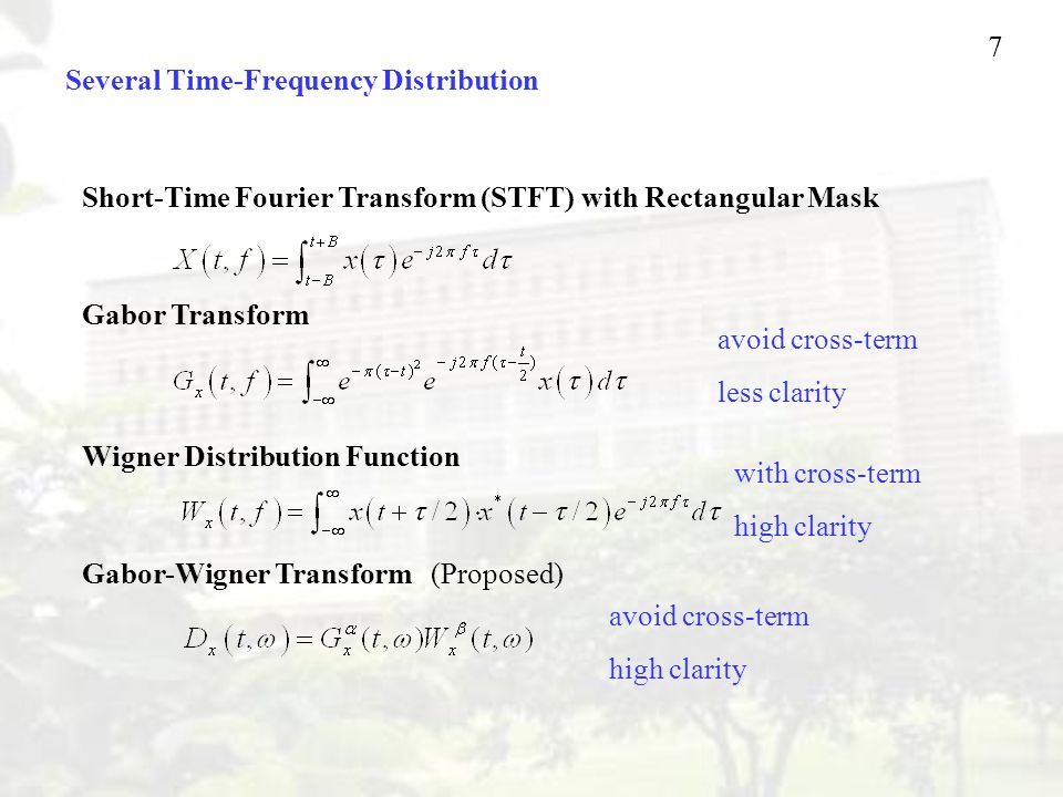 Several Time-Frequency Distribution