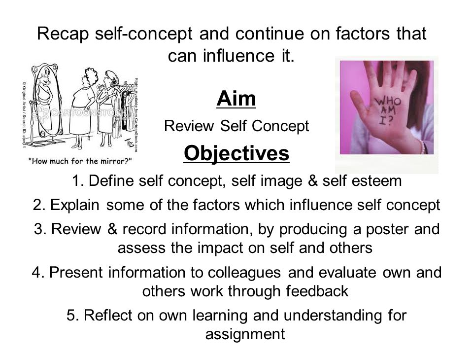 Recap self-concept and continue on factors that can influence it.