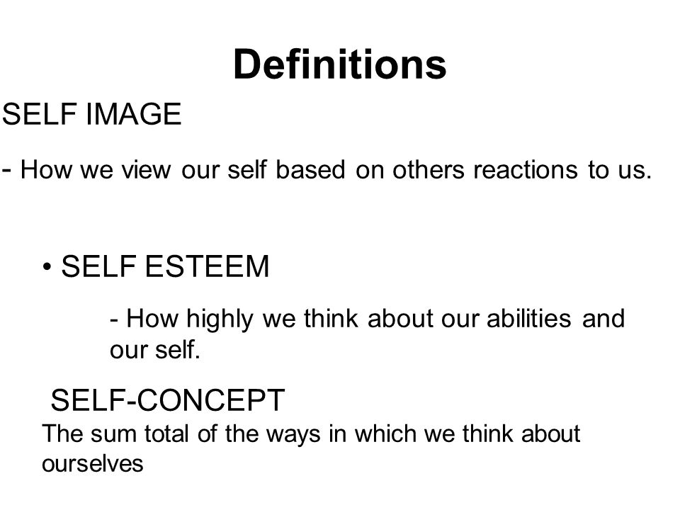 Definitions SELF IMAGE