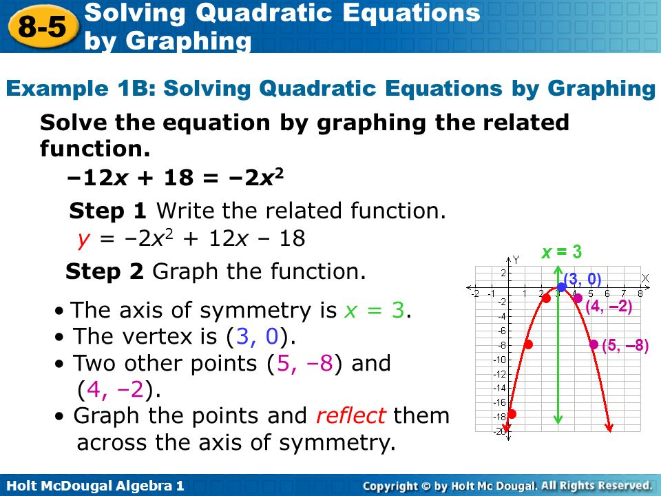 Solving Quadratic Equations by Graphing ppt download