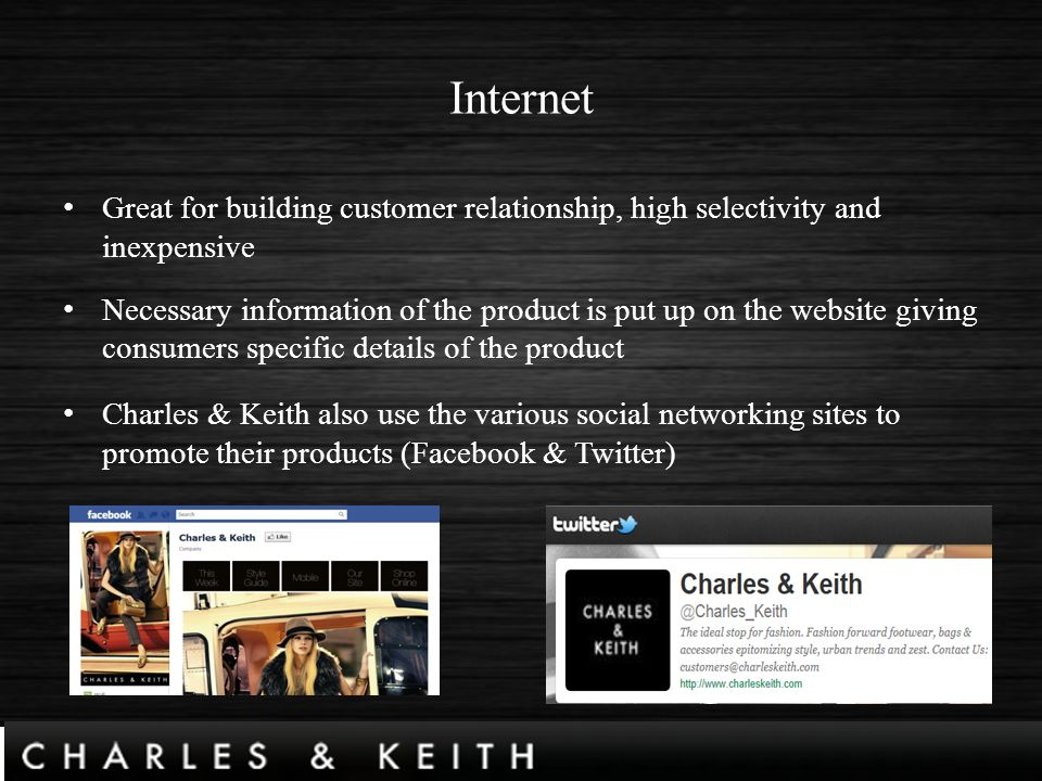 charles and keith analysis This means that the local charles & keith can only depend on the small local  market (refer appendix d) porter's 5 forces analysis threat of new.