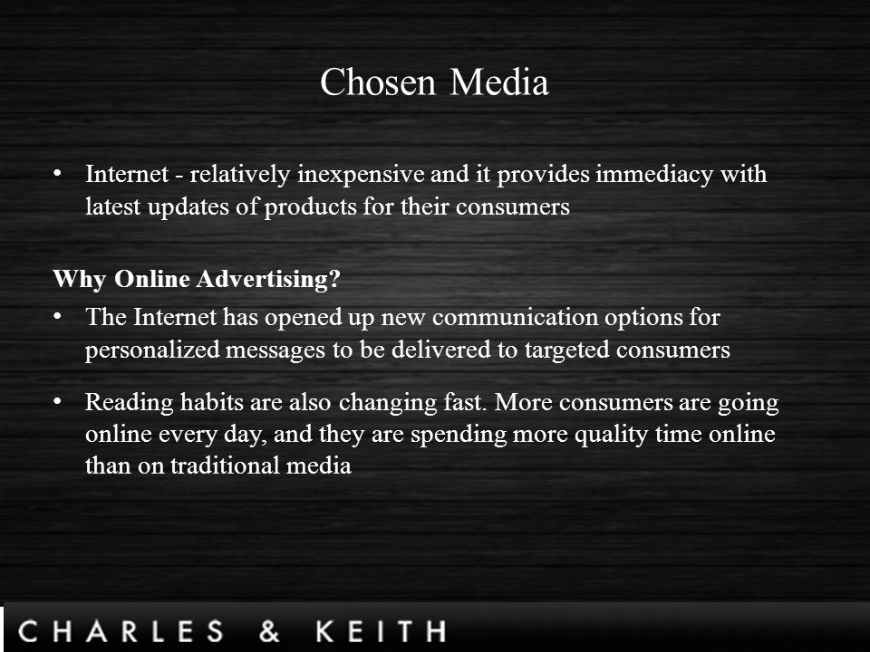 charles and keith marketing plan Charles & keith market analysis market marketing objectives charles and keith has the perfect combination of affordability and design.