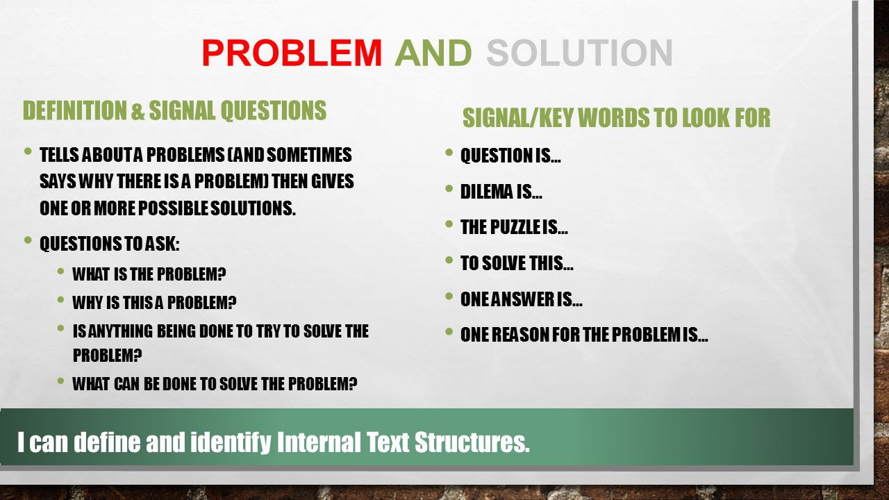 how to solve internal problems