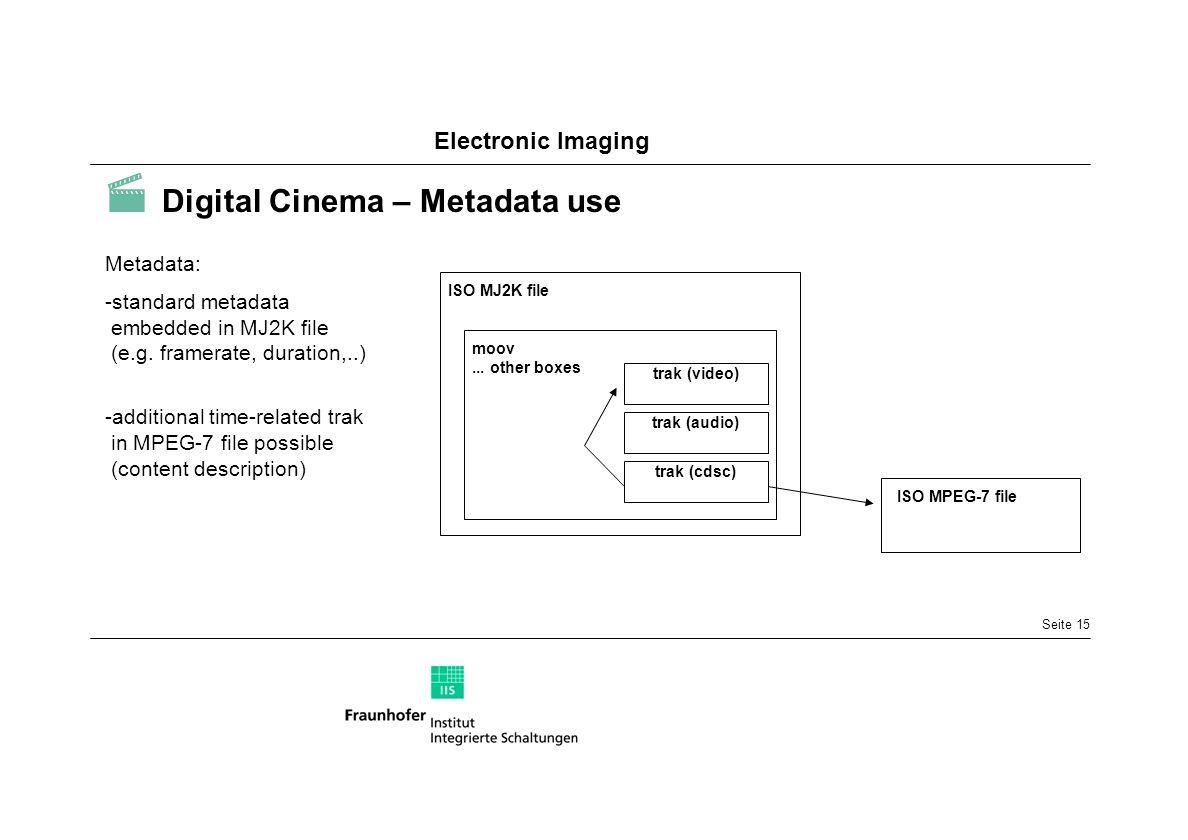  Digital Cinema – Metadata use