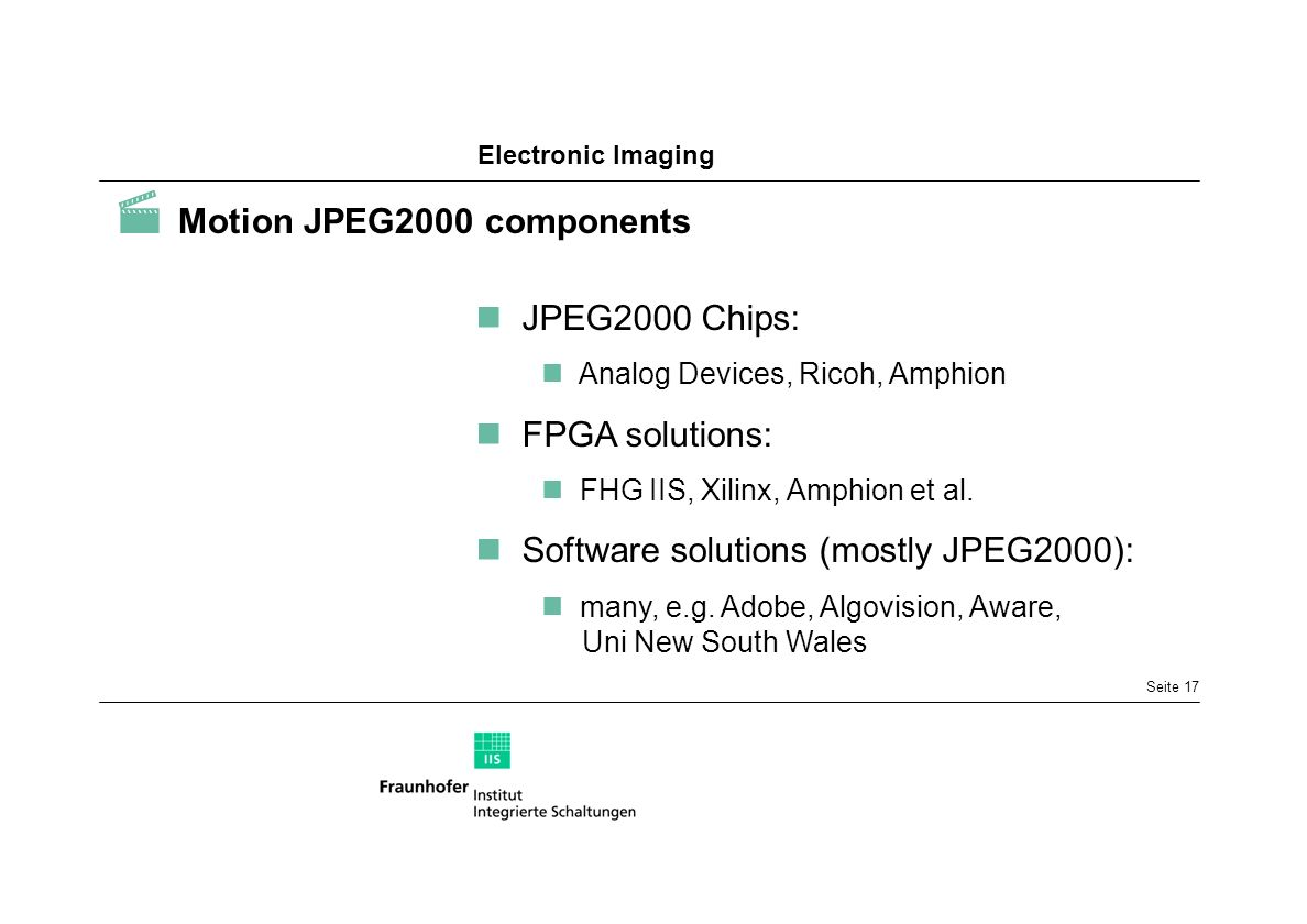  Motion JPEG2000 components