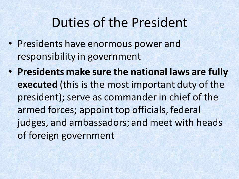 the powers and responsibilities of the president I, (name), do swear in the name of god (or solemnly affirm) that i will faithfully  execute the office of president (or discharge the functions of the.