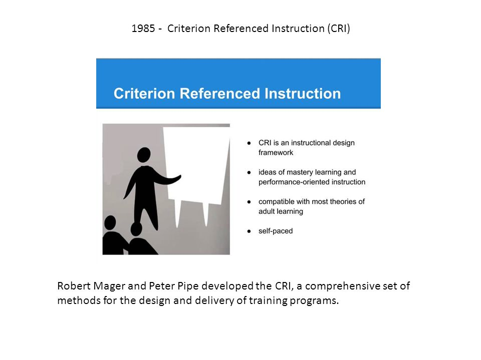 Criterion Referenced Instruction Certification