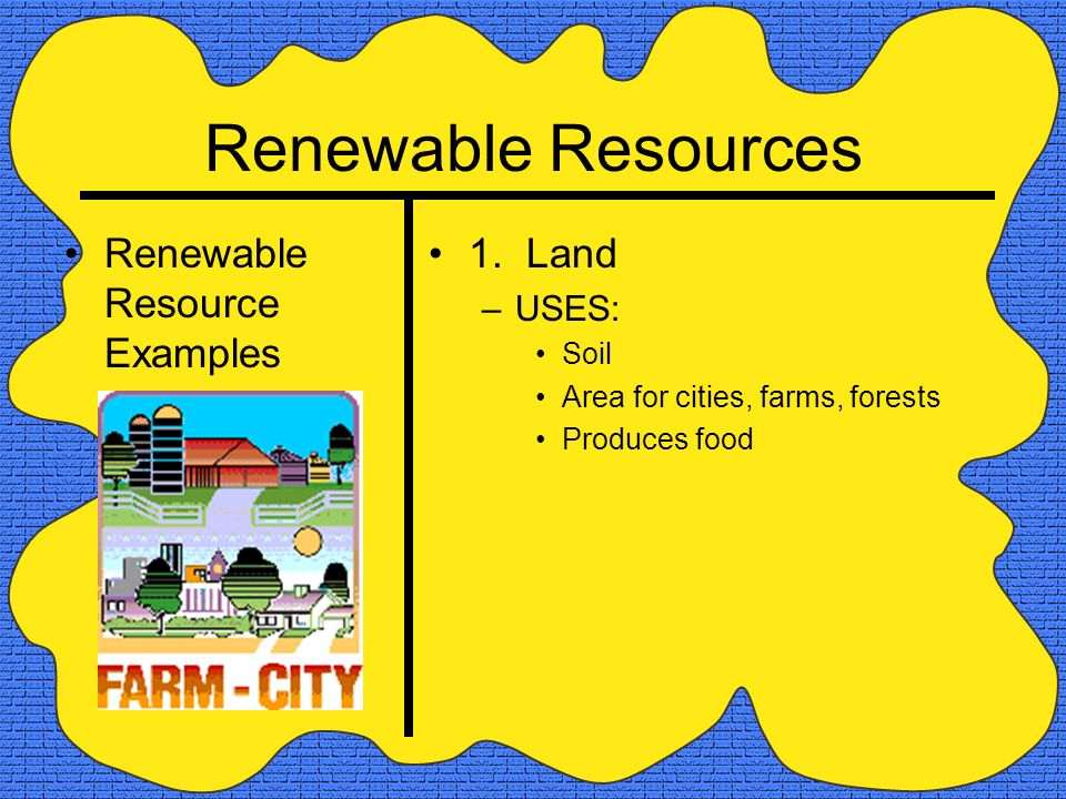 Nonrenewable vs renewable resources ppt video online for Land and soil resources definition