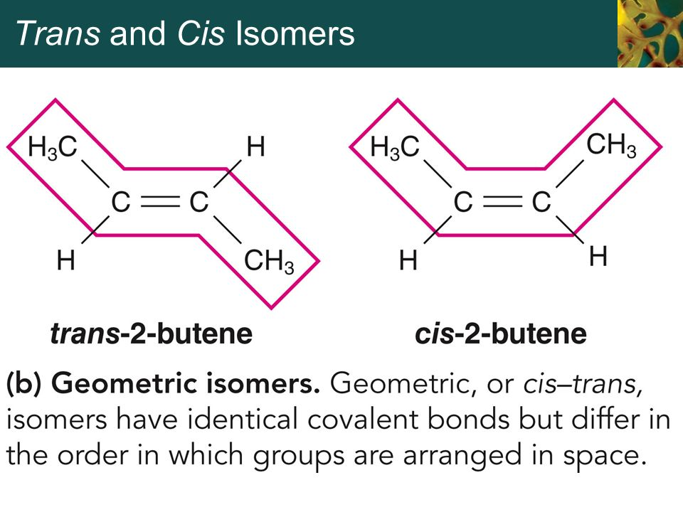 a cis to trans conversion Another example is the photochemical conversion of the trans isomer to the cis isomer of resveratrol: in a cycloisomerization a cyclic compound is formed.
